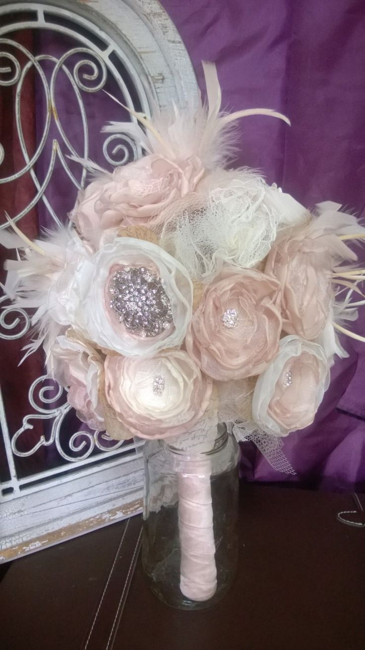 Bridal Bouquet Rhinestones and Feathers Gatsby themed wedding