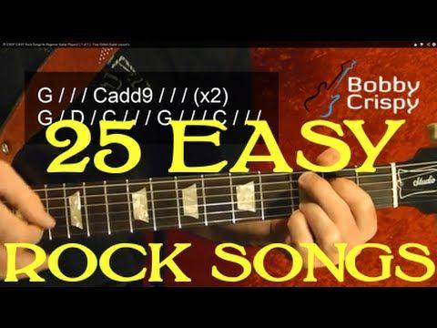 25 SUPER EASY Rock Songs for Beginner Guitar Players! ( Part 1 of 3 ) by BobbyCrispy - YouTube