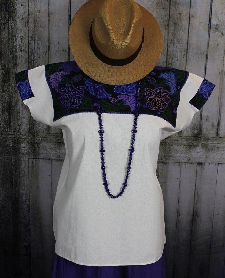 Extremely Fine Hand Embroidered Huipil El Bosque Chiapas Mexico Hippie Boho #Handmade #HuipiltunicHuipil