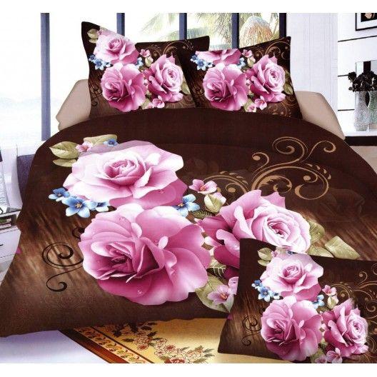 Hnedé 3D posteľné obliečky s fialovými kvetmi