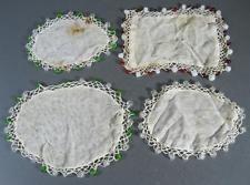 Shabby vintage lace/glass beaded cover doilie d'oyley x 4 milk jug or sugar bowl