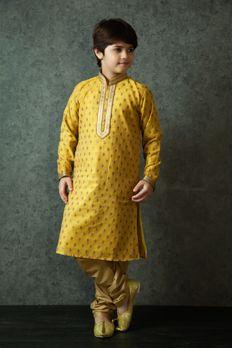 Banarasi silk kurta churidar embellished with stitched work #Benzer #Benzerworld #Kidswear #ethnicwear #Kurta