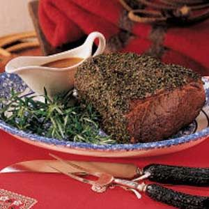 Herb-Crusted Roast Beef - I ♥ making Roast Beef and Lawry's Restaurant recipe is still my favorite but this sounds good too.