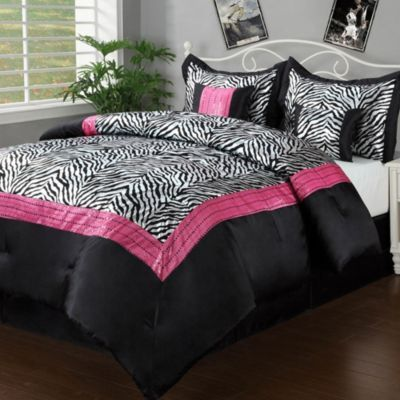 Buy Sassy Zebra 5 6 Piece Comforter Set In Black Pink From