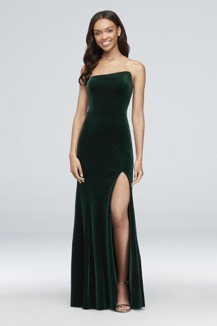 68835b36641e Slanted Neckline Stretch Velvet Sheath Gown Style A20144D, Hunter, 4 ...