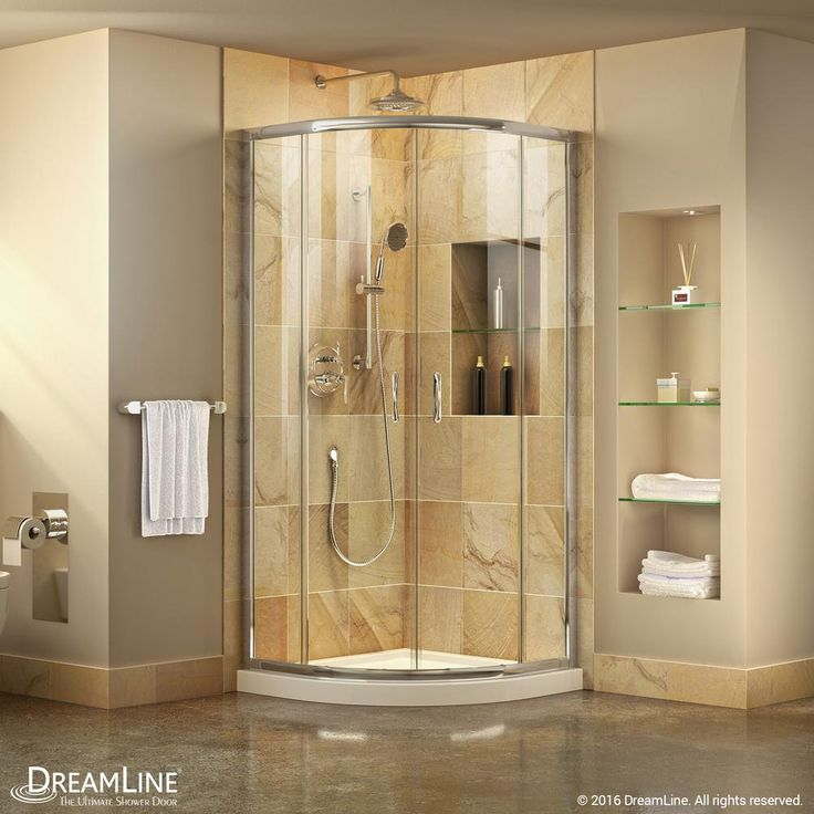 DreamLine Prime 33 in. x 33 in. x 74.75 in. Framed Sliding Shower Enclosure in Chrome (Grey) with Quarter Round Shower Base