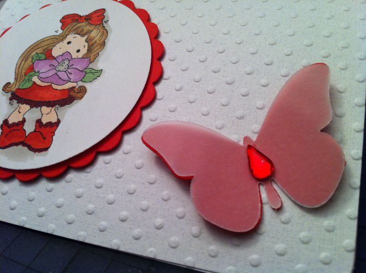 """""""Young Lady"""" - A collection that covers 12 months of stationary needs. Card Detail  Birthday, Anniversary  Embossed paper; diecut and stamped; Copic markers used to color the stamp;tear rhinestone on diecut butterfly (paper and vellum)"""