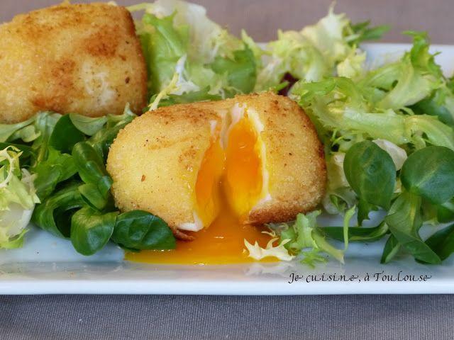 Salade à l'oeuf mollet frit  blog : Je cuisine à Toulouse: Recettes