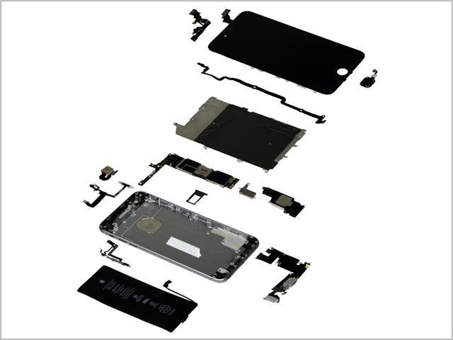 "An ""exploded view"" of the iPhone 6 Plus"