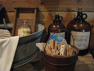 Prim laundry room...clorox bottles ~