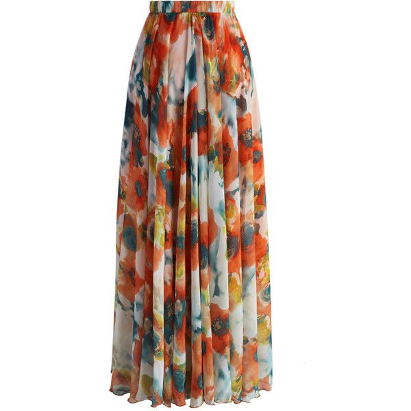 Chicwish Orange Blossom Watercolor Maxi Skirt (2.985 RUB) ❤ liked on Polyvore featuring skirts, watercolor maxi skirt, maxi skirts, long maxi skirts, long skirts and orange maxi skirt