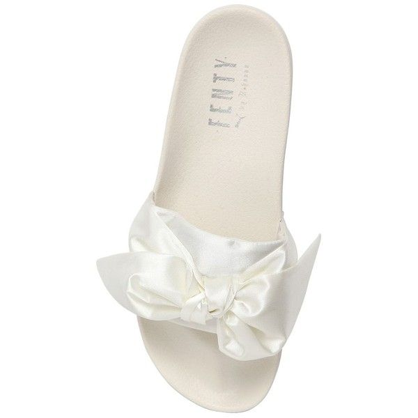 Fenty X Puma Women 20mm Bow Satin Slide Sandals ($115) ❤ liked on Polyvore featuring shoes, sandals, puma shoes, satin shoes, puma sandals, rubber sole shoes and bow slide sandal