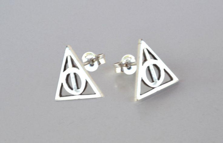 Harry Potter Earrings Deathly Hallows Earrings Post Stud Earrings Harry Potter Jewelry Geek Teen Jewelry Sterling Silver Gift Under 25 by thinkupjewel on Etsy