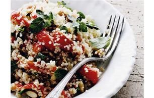 Quinoa med grillede peberfrugter