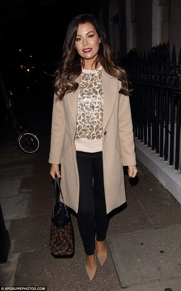 Elegant: Jessica Wright wrapped up warm in a chic camel wool coat and a glitzy cream and gold sequin jumper as she enjoyed a spot of pampering in London on Thursday night
