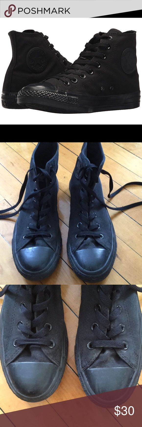 All black high top converse all stars All black converse all stars. Size 8 women/ 6 men. These have been worn several times and have some wear as shown in photos. There is a little dirt which could be easily removed on sides. Open to offers! Converse Shoes Sneakers