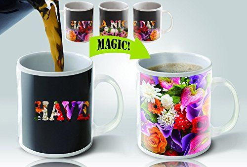 Cortunex Heat Sensitive Color Changing Coffee Mug Have a nice day Flowers Design -- Click image to review more details.