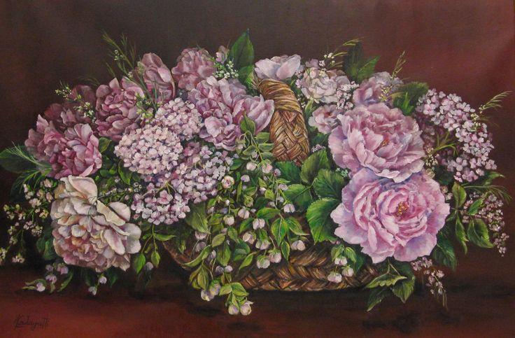 """""""Cesto con fiori"""" olio su tela (40 x 60)"""