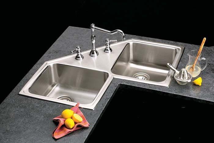 Double Bowl Corner Kitchen Sink Cornersink Kitchen Sink Decorhomeideas Kitchendesignkorner Corner Sink Kitchen Corner Sink Kitchen Sink Design