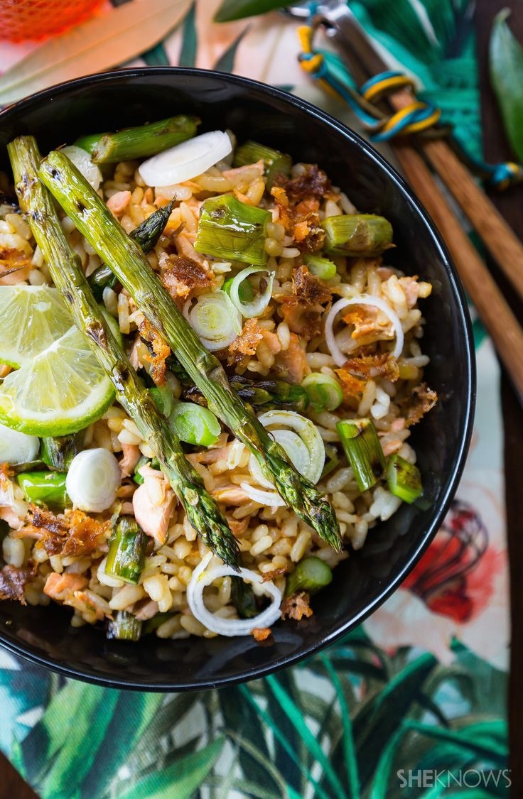 Salmon & Asparagus Fried Rice