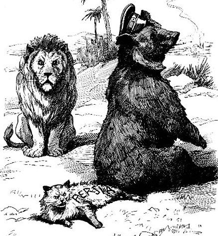 The British Lion, the Persian Cat and the Russian Bear (see The Great Game). As Between Friends (Punch magazine, 13 December 1911, detail).