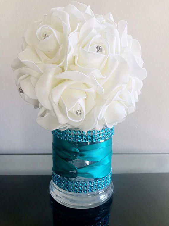 Turquoise  Bling Centerpiece vase sweet 16 Birthday