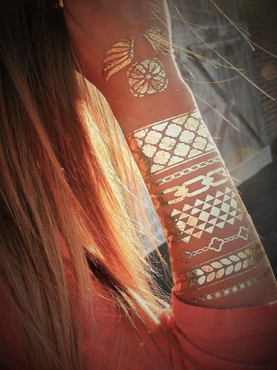 Boho Chic GOLD Tattoos, Gold Metallic Tattoos. Buy today on www.ShimmerTatts.com. Use Coupon code PIN10 to save 10% now! Just CLICK pic to see our Bohemian Style Collection.