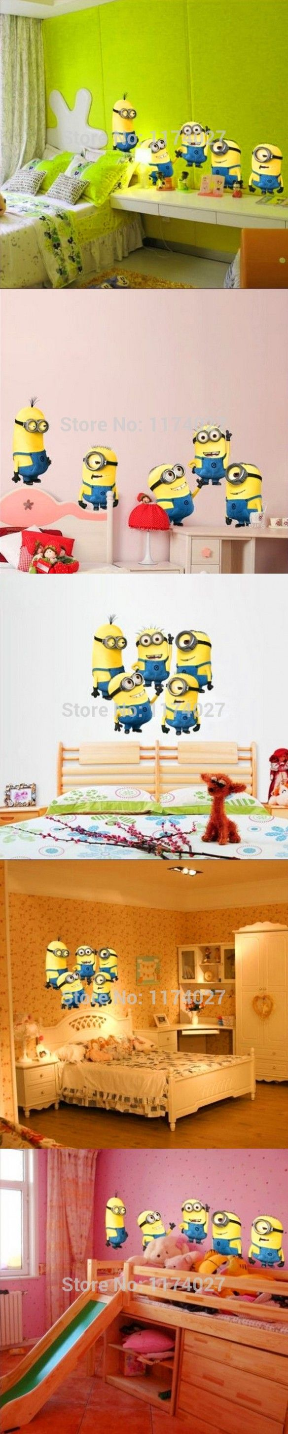 Free shipping cute MINIONS wall stickers home decor Removable minion wallpaper for kids room $2