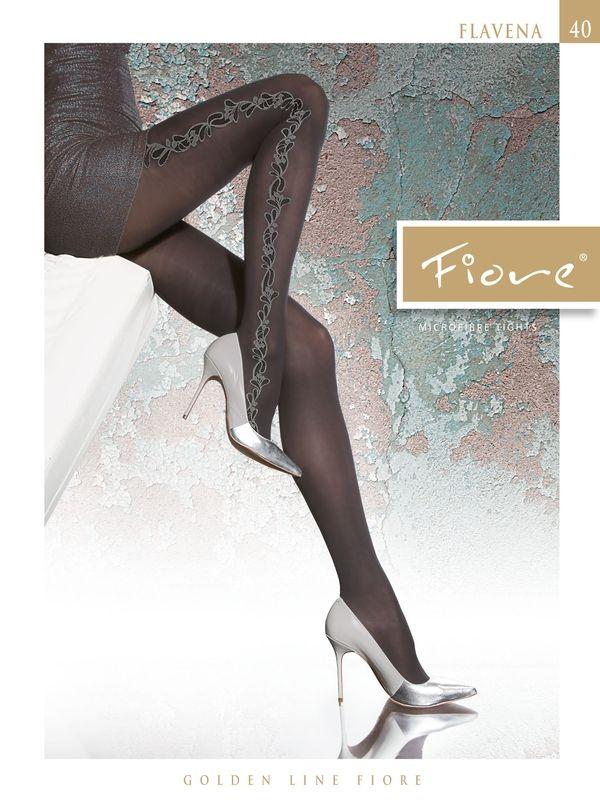 Punčocháče Fiore Flavena - poloprůhledné s bočním květinovým vzorem  #puncochytimea