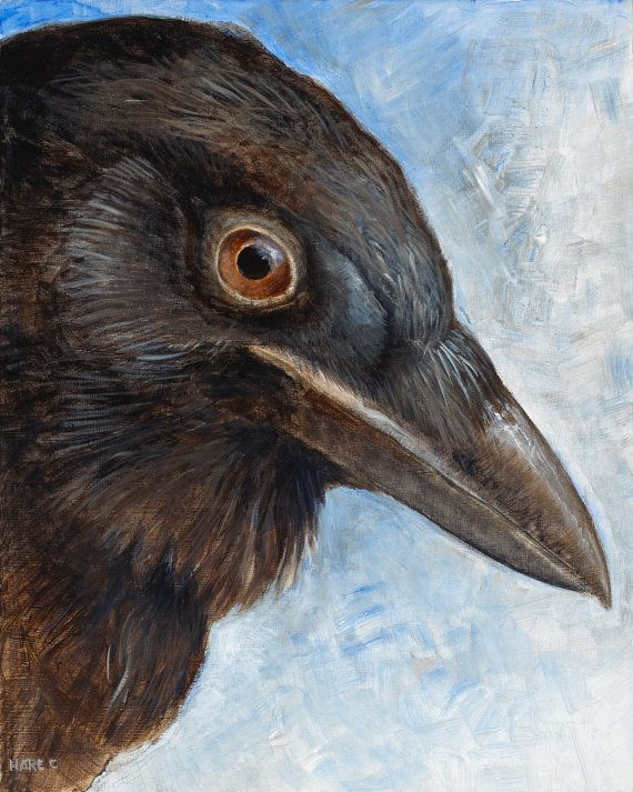 Hey, I found this really awesome Etsy listing at https://www.etsy.com/ca/listing/229531753/crow-study-2-original-acrylic-colorful
