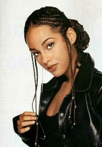 Fresh cornrows hairstyle young Alicia Keys