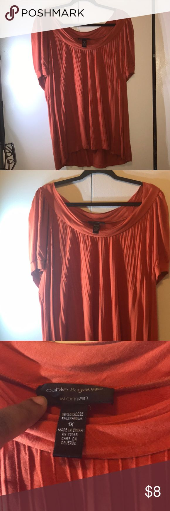 Top Orange short sleeve top Cable & Gauge Tops Blouses