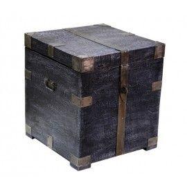 Dark Wood Storage Trunk End Table