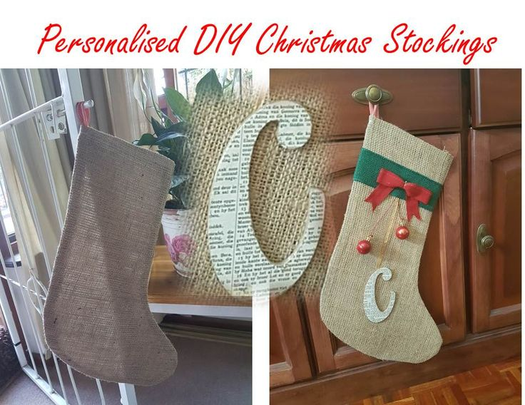 Burlap Christmas Stockings - personalised with a letter of a name podged with bible verses
