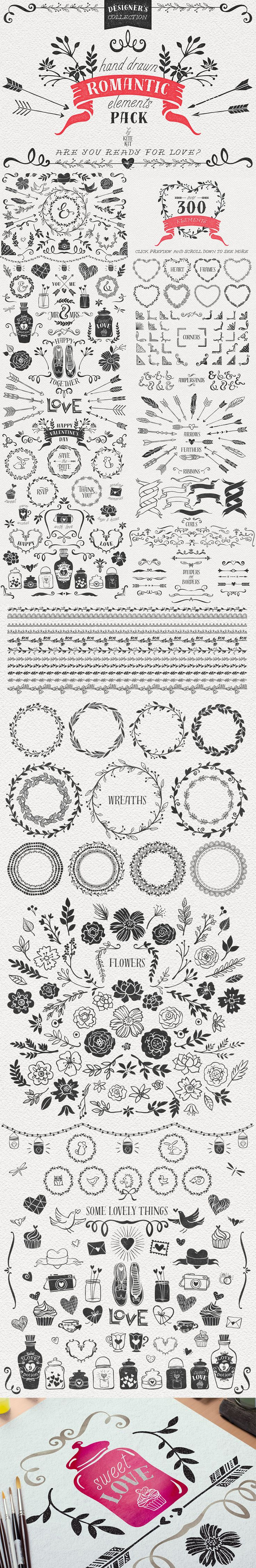 Hand Drawn Romantic Decoration Pack by Kite Kit | The Comprehensive, Creative Vectors Bundle Mar 2015 from Design Cuts