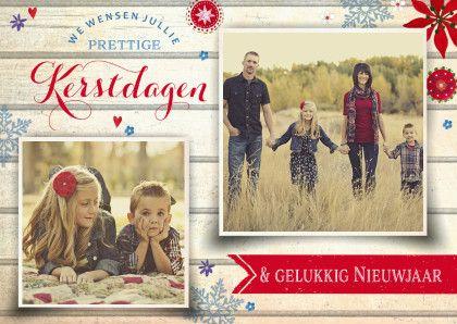 Kerstkaart Hout Vintage - Kerstkaarten - Kaartje2go
