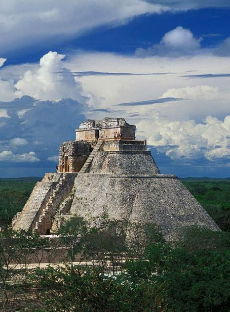 """The Pyramid of the Magician, The Magician's House, and The Pyramid of the Dwarf are all names for the 115 feet tall grand pyramid of the Maya at Uxmal. Archaeological evidence suggests that the city was founded some time in the 6th century AD. Uxmal means either """"built three times"""" or """"what is to come, the future"""" and is considered today to be one of the most important Maya archaeological sites. Legend is the Pyramid was built overnight by a dwarf that was hatched from an egg."""