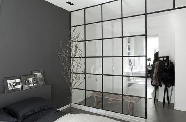 Stil Inspiration | Photography Spaces | Black and White | Nice unique glass wall