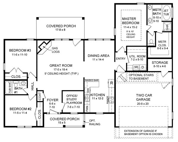 Ranch house plan chp 24020 at garage Bedroom addition floor plans
