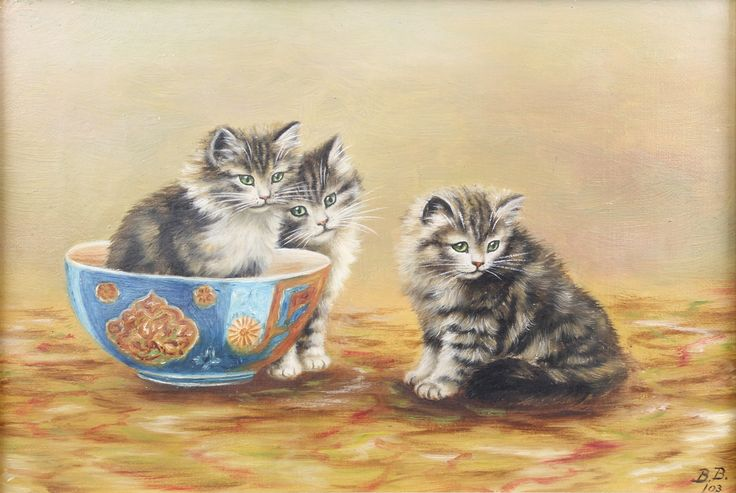 "Lot 432, Bessie Bamber '03, oil canvas, monogrammed, study of a kitten sitting in a bowl with 2 others beside him 6 1/2"" x 9 1/2"", est £200-300"