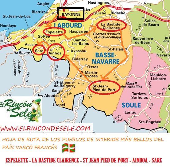 Mapa del País Vasco francés con la ruta por pueblos que hicimos en coche