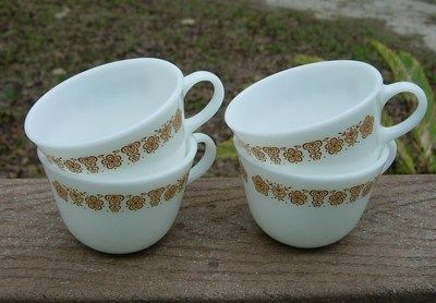 Four 4 Vintage Corning Corelle Harvest Gold Butterfly Restaurant Coffee Cups | eBay
