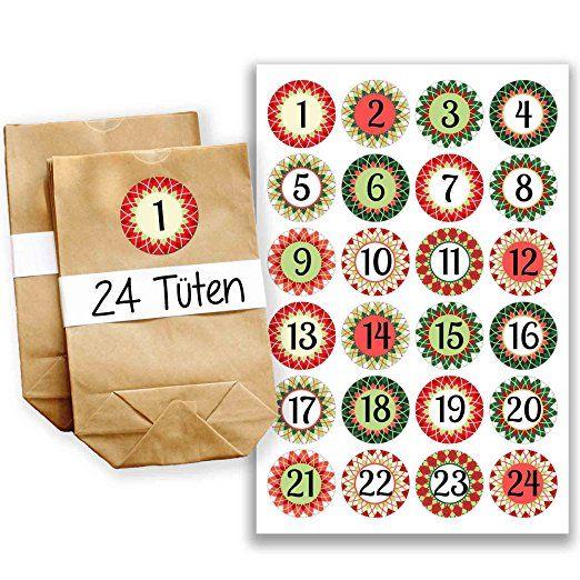 Adventskalender Set - 24 braune Tüten und 24 rot-grüne Zahlenaufkleber - zum selber basteln und zum selbstbefüllen - Mini Set 17 von Papierdrachen