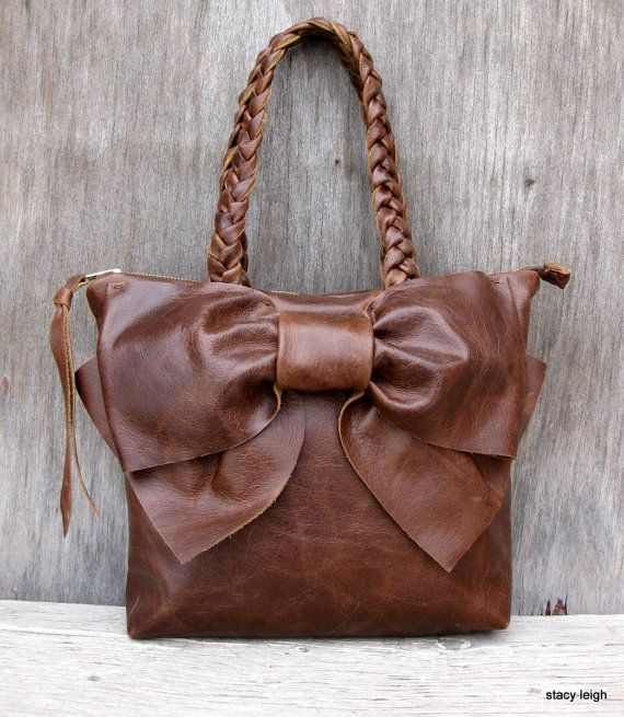 2014 Leather Bow Petite Satchel Handbag in Your Choice of Brown by Stacy  Leigh Made to 3ad3021dbd094