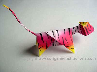 origami tiger from multi-colored paper