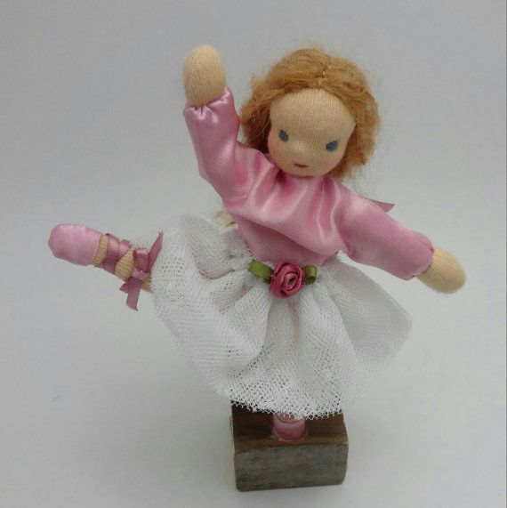 Ballerina Bendy doll dollhouse doll posable by FabricWoolLove
