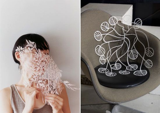 Loving the delicate and intricate paper cut-out by Japanese illustrator Yuko Yamamoto. The paper plants look like they are alive …