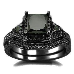 #blackdiamondengagementrings 2.01ct Black Princess Cut Diamond Engagement Ring Wedding Set 14k Black Gold by Front Jewelers - See more at: http://blackdiamondgemstone.com/jewelry/wedding-anniversary/201ct-black-princess-cut-diamond-engagement-ring-wedding-set-14k-black-gold-com/