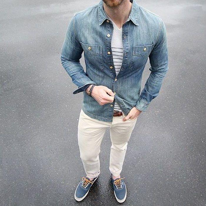 1088 best mode homme images on pinterest - Comment porter une chemise en jean homme ...