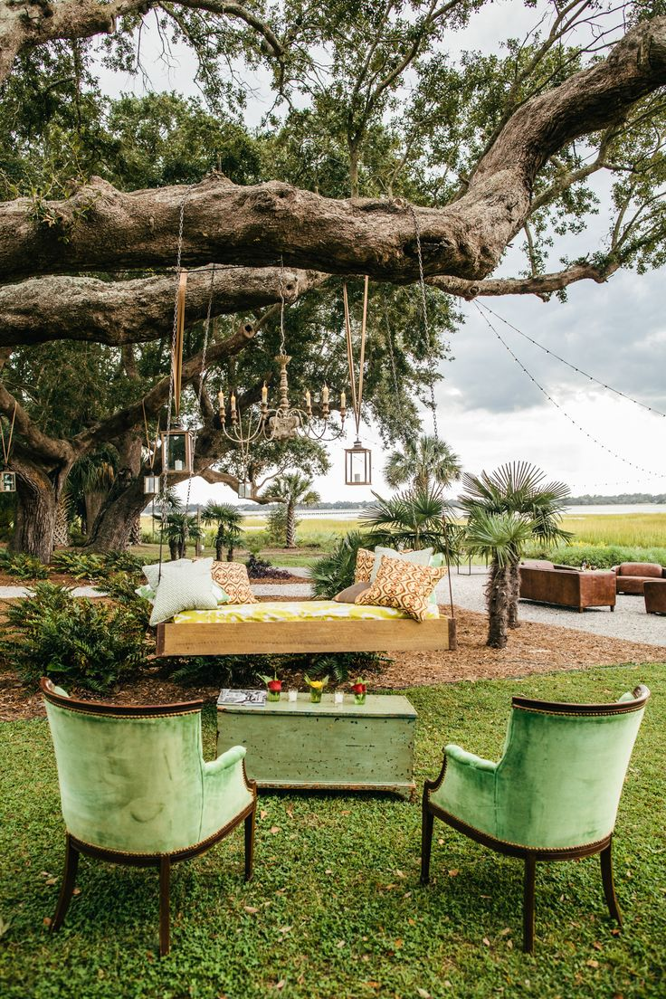 Outdoor Cocktail Hour -- Charming Furniture. More on SMP: http://www.StyleMePretty.com/2014/06/02/sweet-south-carolina-plantation-wedding/ Photography: RiverLandStudios.com - Event Design: Intrige Design & Events - Get-Intrigued.com